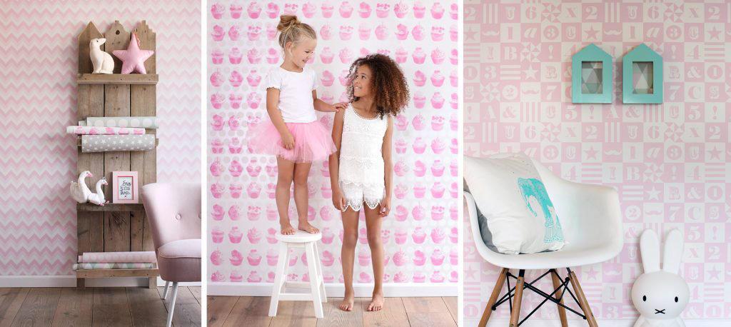 tre rosa tapeter til barnerom fra Everybody Bonjour